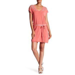 Zadig & Voltaire Rimo Coral Shimmer Belted Dress